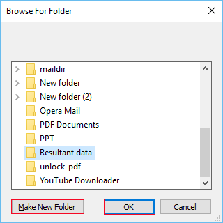 choose storage location to save dbx converted pdf files
