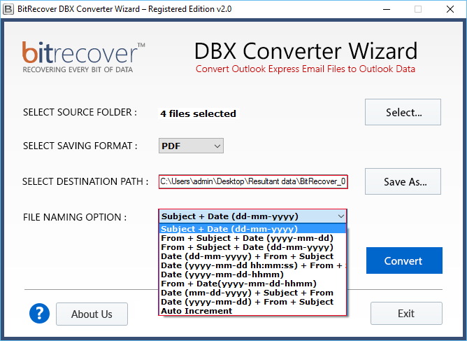 select naming option for every dbx email to pdf